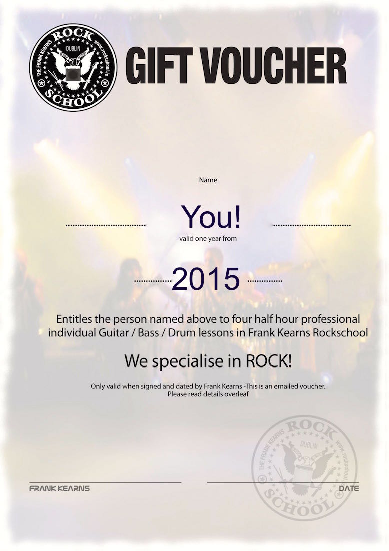 Rockschool all instruments gift voucher blank small size